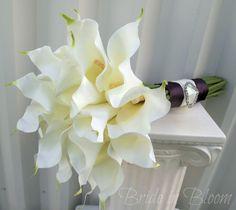 Wedding bouquet white cream calla lily Bridal bouquet Silk wedding flowers. $85.00, via Etsy.
