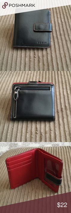 """Lodis black and red walker Smooth grain leather petite version of the class French Purse 3.25 x 4.25 x 0.75"""" Features: Snap closure, Exterior zip coin pocket, 1 bill compartment, 3 credit card slots, ID window with thumb glide from a smoke free home Lodis Accessories"""