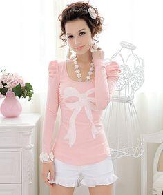 Fashion New korean Womens Sweet Pink Long Sleeve T-shirts Free Shipping