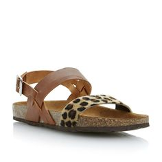 BERTIE LADIES Multi JAFARI - Leopard Print Footbed Sandal | Dune Shoes Online