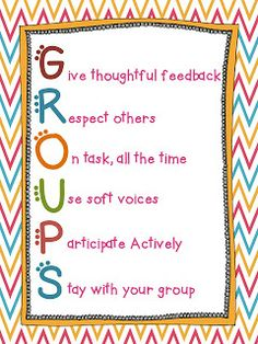 Groups Acronym Poster! Great way for students to know the expectations of the teacher!- Meredith Kjelland