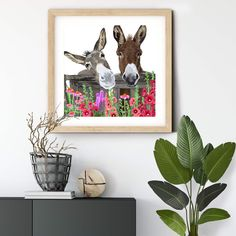 Donkeys in Garden #walldecorart #homedecor #donkeyprint #wallart #autism #autismawareness #donkeygiclee unframed