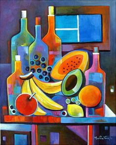 Cubist Abstract painting Original Acrylic artwork Wine and Fruits by Marlina Vera Fine Art Gallery sale Modern still life Picasso Paintings, Original Paintings, Cubist Art, Acrylic Artwork, Still Life Art, Arte Pop, Fine Art Gallery, Art Lessons, Modern Art