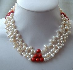 Pearls And Coral Necklace White Freshwater Pearl, Freshwater Pearl Necklaces, Pearl White, Antique Stores, Strands, Fresh Water, Gemstone Jewelry, Jewelery, Coral