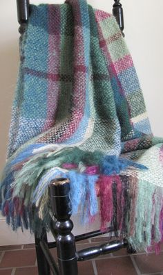 Handwoven Sea Blue and Garden Green Plaid Stripe Mohair Throw Blanket by aclhandweaver