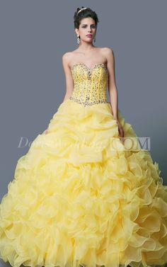 Glamorous Yellow Beaded Ball Gown Sweet 16 Dress With Corset Bodice #long #sweet16 #ballgown #DorisWedding.com