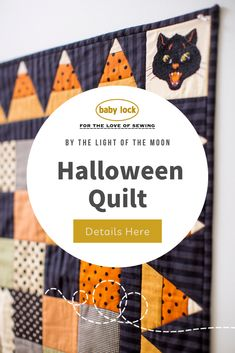 Don't be spook by this quilt! By the Light of the Moon Halloween quilt captures the likeness of the eeriness and spookiness of the holiday paired with the sweetness of a fan-favorite candy corn deliciousness. // Pin this to your Halloween Sewing Board 🎃 Halloween Sewing Projects, Halloween Quilts, Favorite Candy, Candy Corn, Quilting Projects, Moon, Lighting, The Moon, Lights