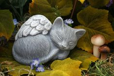 Angel Cat Statue Pet Memorial Marker by PhenomeGNOME on Etsy, $24.99