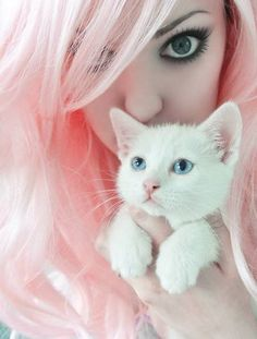 Cotton candy pink haired girl cuddling with her soft white kitten!! <<< Love that caption