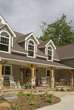 Rough edge on the porch for the front porch, stone and columns for the dutch roof porch and front porch Stone Front House, House Front, Front Porch Posts, Stone Porches, Front Porch Makeover, Mansard Roof, Porch Columns, Home Porch, Home Additions