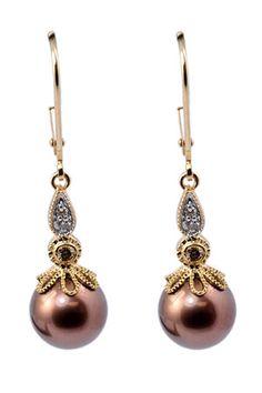 Chocolate Pearl and Diamond Earrings