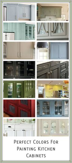 Different color options for painting cabinets. The best way to get a perfectly smooth finish is with a HomeRight FinishMax sprayer--no brush marks and makes the process so much faster.