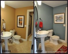 Love the blue grey wall color and pops of red. wall color = Benjamin Moore Mountain Laurel