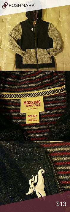Hoodie boys Preloved excellent condition,color is gray and dark blue with pockets and has a detachable button ( ITS ZERO THE GHOST DOG)from the movie NIGHT BEFORE CHRISTMAS you can take it off if you want to. Mossimo Supply Co. Jackets & Coats