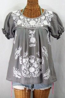 Siren La Mariposa Corta Embroidered Mexican Style Peasant Top - Grey $44.95
