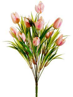 Two-Tone Pink Tulip Bush | Silk Flowers | Afloral.com $7.00