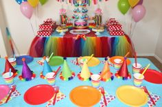 Rainbow Party.  See more at CatchMyParty.com.  #rainbow #partyideas