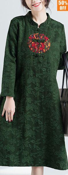 M-5XL Vintage Women Floral Printed Frog Button Dress. Vintage Style, Loose Style, Long Sleeve, Stand Collar. Color:Black,Green,Navy. Size:M,L,XL,XXL,XXXL,XXXXL,5XL. Buy now! #women #dresses #2018
