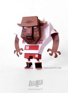 Blog Paper Toy papertoy ETNO2012 pic Bison Soccer Player de TOUGUI