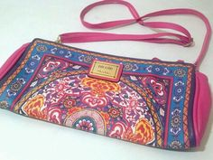 NICOLE MILLER RANDY CLUTCH EXOTIC BOHO PRINT SHOULDER BAG CROSS BODY PURSE PINK #NicoleMiller #ShoulderBag