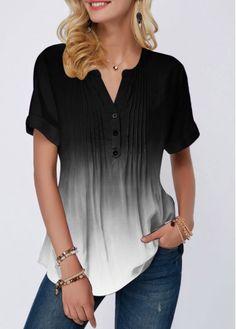 Ombre Black And White Short Sleeve Blouse Split Neck Crinkle Chest Button Detail Blouse Stylish Tops For Girls, Trendy Tops For Women, Blouses For Women, Women's Blouses, Formal Blouses, Trendy Fashion, Womens Fashion, White Maxi Dresses, Swim Dress