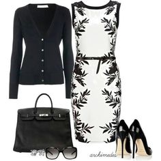 Black and white print dress, black cardigan, black belt, shoes, and bag. Try red jewelry and shoes for a pop of color!