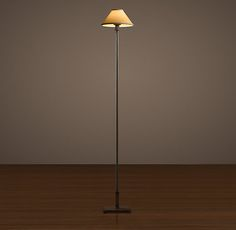 Candlestick Floor Lamp Aged Steel with Linen Shade 142H D=23