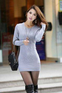 new women's spring autumn winter thicken turtleneck pullover knitted sweaters women long slim sweater dresses - Pulli Sitricken Asian Fashion, Girl Fashion, Womens Fashion, Girls In Mini Skirts, Fashion Tights, Beautiful Asian Women, Up Girl, Sexy Asian Girls, Asian Woman