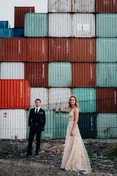 wedding photoshoot at Fremantle docksshot by Adam Levi Browne Photography Wedding Photoshoot, Wedding Pics, Wedding Stuff, Wedding Ideas, Warehouse Wedding, Glamorous Wedding, Chic Wedding, Industrial Wedding, Industrial Chic