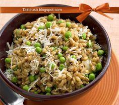 farotto with peas and parmesan recipe