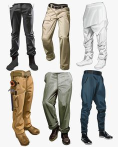 Pants Drawing, Drawing Clothes, Drawing S, Digital Painting Tutorials, Digital Art Tutorial, Drawing Tutorials, Art Reference Poses, Drawing Reference, Fuchs Illustration
