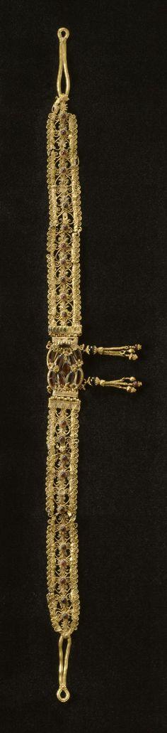 Greek Diadem - gold, garnet, enamel. 3rd-2nd century BC (Greco-Roman)