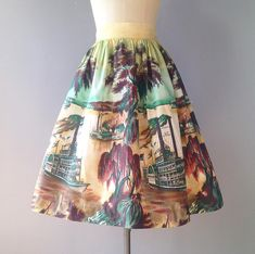 New! 1950s Showboat novelty print skirt! XS Travel Skirt, 1950s Skirt, Vintage Borders, Home Sew, Border Print, Sweater Skirt, Novelty Print, Vintage Sweaters, Vintage Skirt