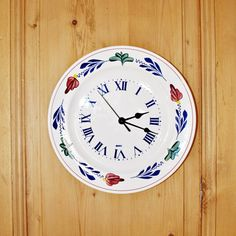Upcycled BOCH Ceramic Wall Clock - Recycled Clock - Begian Handpainted Ceramic Clock