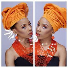 Nigerian wedding color series look book by Beautycook Studio orange gele & crystal jewelry by Bimms