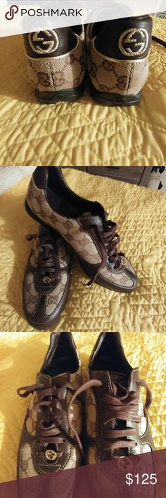 Gucci shoes size 6 Brown canvas with leather trim. Excellent condition! There's one blemish on the right, outside shoe...see last pic. 164183 36 No box or dust bag Gucci Shoes Sneakers