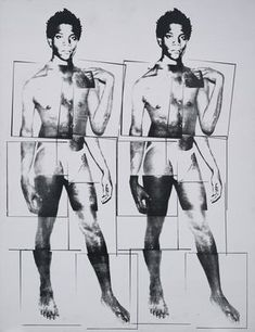 Andy Warhol - Portrait of Jean-Michel Basquiat as Michelangelo's 'David'. ♦️More Pins Like This At FOSTERGINGER @ Pinterest♦️