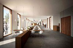 #Bar #Restaurante #moderno #contract via @planreforma #sillas #mesas de comedor #render-maqueta #madera
