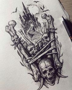 Scary Tattoos, Full Arm Tattoos, Body Art Tattoos, Sleeve Tattoos, Tattoo Design Drawings, Skull Tattoo Design, Tattoo Sketches, Tattoo Designs, Dark Art Tattoo