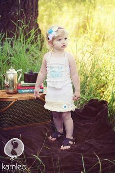 Girls Vintage Ruffle Tank Dress Bluebird of Happiness