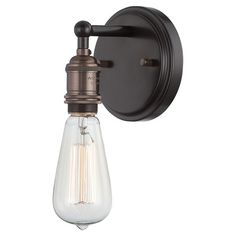 Edison bulb-inspired design. Rustic bronze finish. Industrial-chic wall sconce. $48.95. Joss & Main.