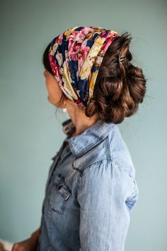 Indigo Roses Long Stretch Cowl CONVERTIBLE headwrap Garlands of Grace headcovering hair scarf Modest Fashion, Girl Fashion, Aviator Hat, Head Coverings, Kerchief, Scarf Hairstyles, Christian Women, Hair Today, Head Wraps