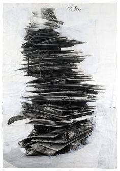 nearlya:  Anselm Kiefer. Dein und Mein Alter und das Alter der Welt, 2005, paint and charcoal on cut, torn, and pasted photographs