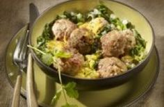 Bouchées de veau au curry et aux épinards