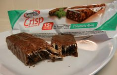 Premier Nutrition Chocolate Mint Protein Crisp Bars. These are totally Girl Scout Thin Mints. #protein #snacks