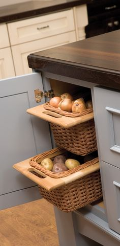 Pull-out Basket Cabinet Storage - Open weave baskets offer popular storage for... pantry organization, linen storage, bathroom organizing, clothing, decorative storage, children's toys, mudroom organization, misc Kitchen Storage, Kitchen Island Storage, playroom storage, living room organization and tons more! These can be added to cabinets with or without a cabinet door. - Dura Supreme #Cabinetry