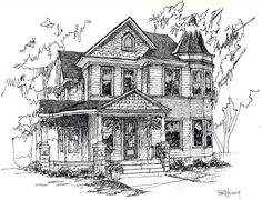 Custom Home/House Portrait Pen and Ink-9X12. $75.00, via Etsy.