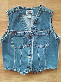Vintage Union Bay Blue Denim Vest S/M Tie-back Cropped Grunge Hipster Hong Kong