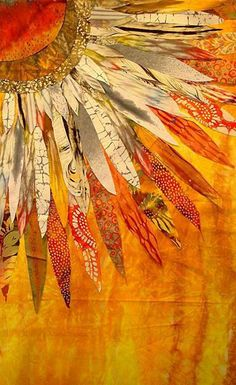 Inspiration for a collage piece. Barbara Olson - Quilt in Progress Mixed Media Collage, Collage Art, Collages, Color Collage, Painting Collage, Sunflower Quilts, Landscape Quilts, Landscape Art, Mellow Yellow