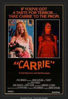 Carrie starring Sissy Spacek, Piper Laurie, Amy Irving, and William Katt; directed by Brian De Palma Horror Movie Posters, Best Horror Movies, Classic Movie Posters, Original Movie Posters, Good Movies, Horror Films, Cinema Posters, Film Posters, Vintage Movie Posters
